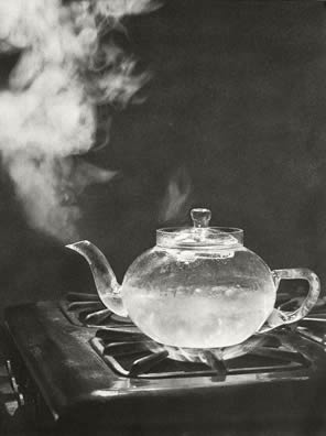 transparent tea kettle on stove