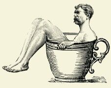 man bathing in coffee cup 1800